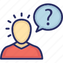 ask questions, faq, perception, self perception, self question icon