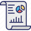 graph report, inference, pie chart, report, statistical icon