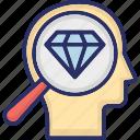 diamond, distinctive, excellence, exclusive, find brilliance, magnifier