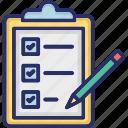 application, clipboard, form, pencil, register