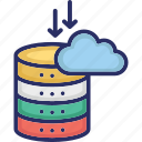arrows, cloud computing, data collection, database, server