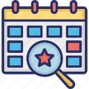 calendar, day, event, event analysis, yearbook icon