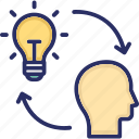 bulb, execute, head, idea, implementation icon
