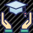 development, education, hands, improving skills, mortarboard icon