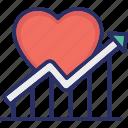 graph, heart, increase customer loyalty, loyalty, retention icon