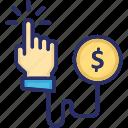 business, cost per click, dollar, pay per click, ppc icon