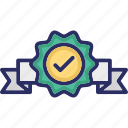 award, badge, merit, recommendation, tick icon