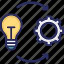cogwheel, develop, gearwheel, idea, implementation