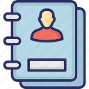 accounts, biography, book, contacts, phone directory icon