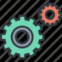 business, connection, development, gear, marketing, success, team icon