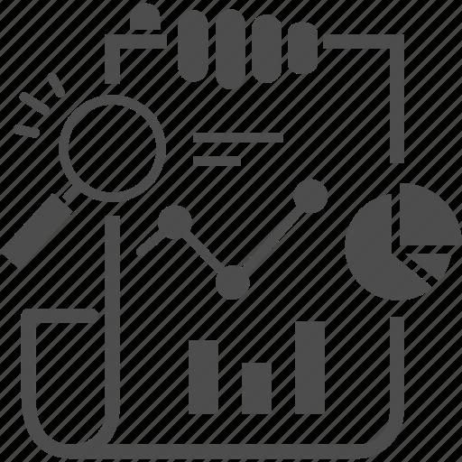 graph, hand, report icon