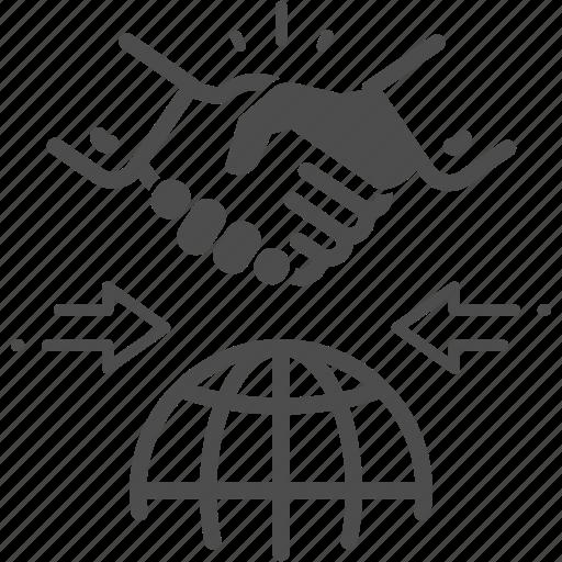 business, global, hand, handshake icon