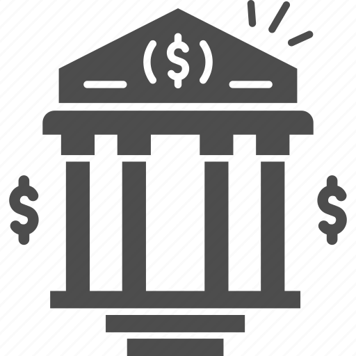 bank, banking, building, dollar, money icon