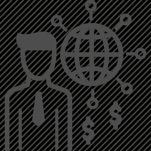 businessman, global, money icon