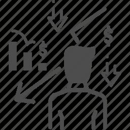 business loss, chart, descending, financial, loss icon