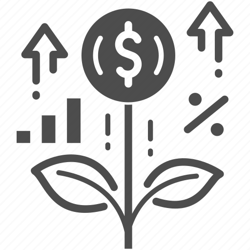 business, growth, investment, leaf, money, plant, startup icon