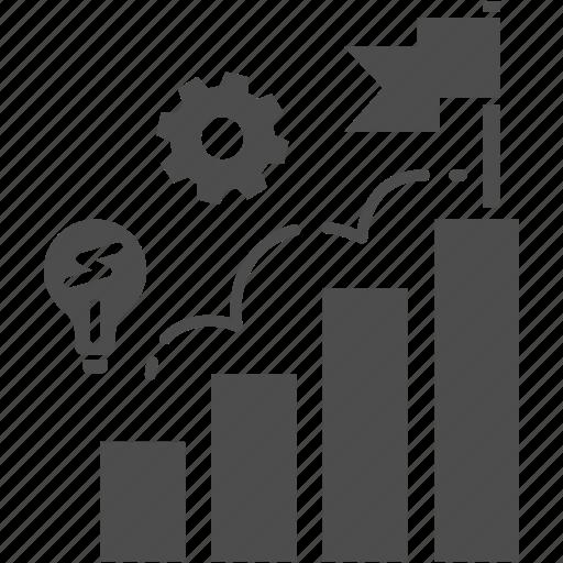 business, flag, graph, idea, startup, success icon