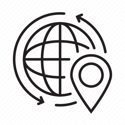 arrow, globe, location, map, pin, web, world icon