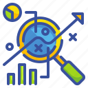 analysis, chart, data, discussion, search icon
