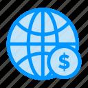 business, dollar, globe, money, world icon