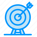 achievement, arrow, dart, goal, target icon