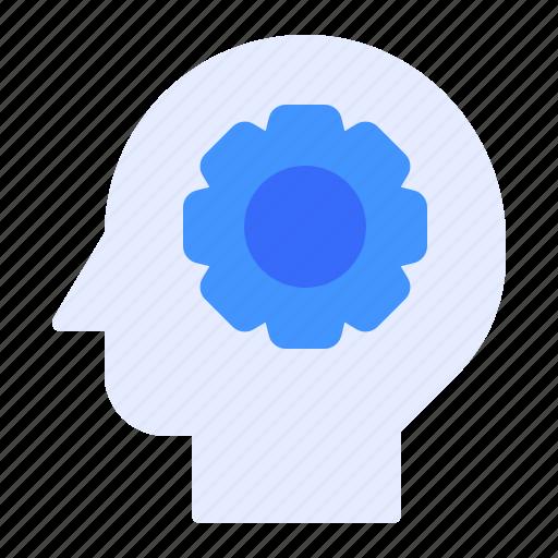 brainstorming, gear, head icon