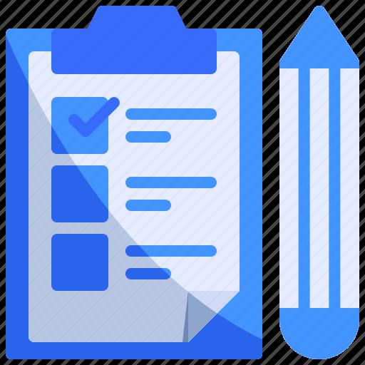 checklist, clipboard, pencil icon
