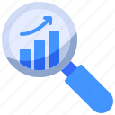 business, graph, search icon