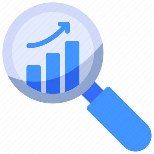 business, graph, search icon