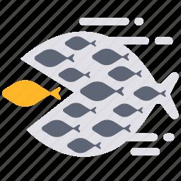 big fish eat little fish, eat, fish, power, team, teamwork, together icon