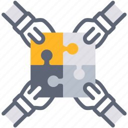 business, collaborate, cooperation, jigsaw, join, team, teamwork icon