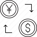 exchange, money, transfer, yen icon