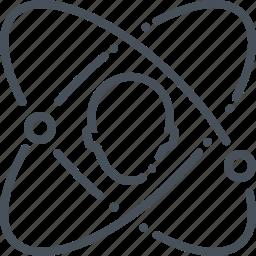 atom, circular, clock, head, person, worker icon