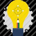 creativity, data, education, idea, lamp, light, pencil icon
