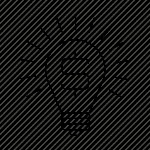 boulb, dollar, idea, lamp, money icon