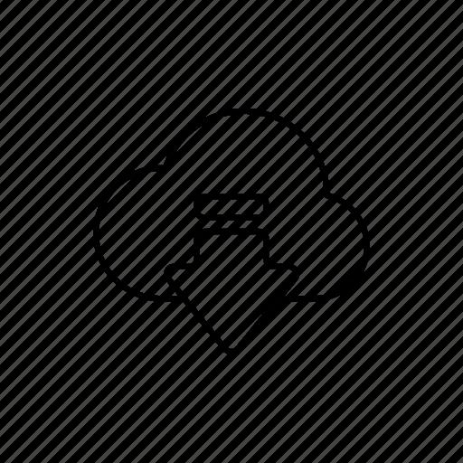 arrow, business, cloud, download, expand, internet, outline icon