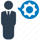 business solution, businessman, cog, gear, management, manager, productivity icon