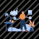 businessman, thinking, about, company, development, code, programming