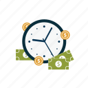 cash, clock, coins, dollar, finance, money, time icon