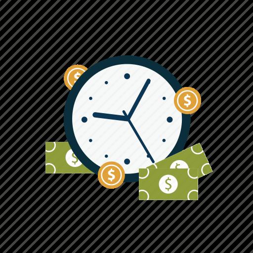 cash, clock, coins, dollar, finance, money, time icon