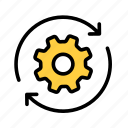 gear, refresh, reload, reset, settings, tool icon
