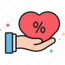 commission, commissions, discount, heart, promotion icon