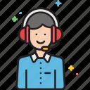 customer, customer service, headphones, representative, service, staff icon