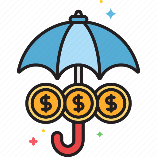funds, insurance, protection, umbrella icon