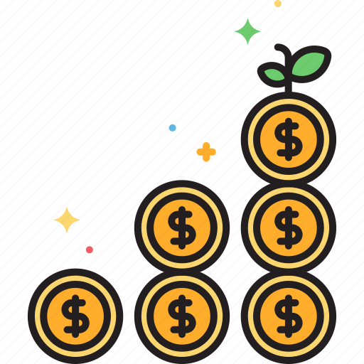coins, growth icon