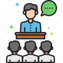 seminar, speech, talks, workshop icon