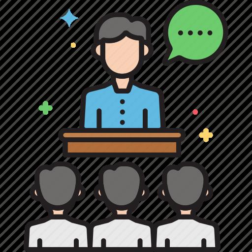 seminar, speech, talks, workshop icon