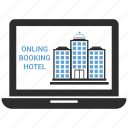 apple, computer, device, laptop, macbook, online hotel booking icon