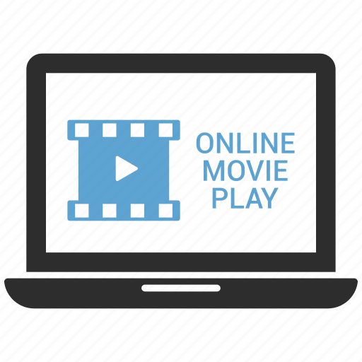 apple, computer, device, laptop, macbook, online movie, play movie icon