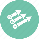 arrow, bars, chart, growth, sales icon